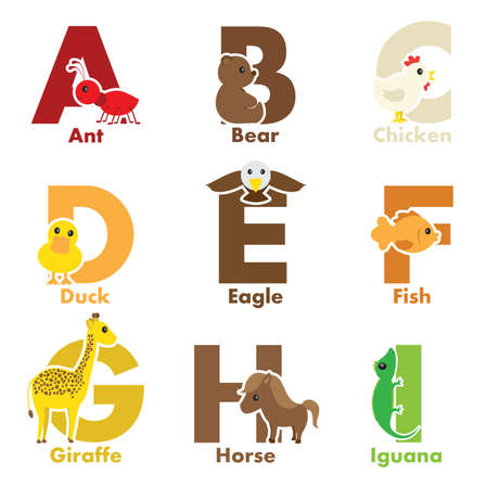 alphabet: A illustration of alphabet animals from A to I