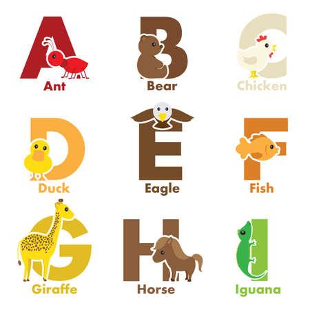 Een illustratie van het alfabet dieren van A tot I
