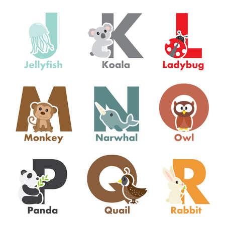 Een illustratie van het alfabet dieren van J tot R