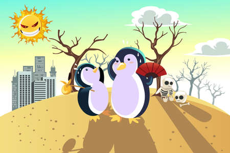 A vector illustration of a global warming concept, with penguins on a dry hot land