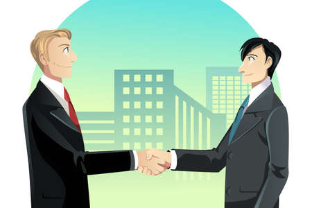 dandose la mano: Una ilustraci�n vectorial de dos hombres de negocios apret�n de manos