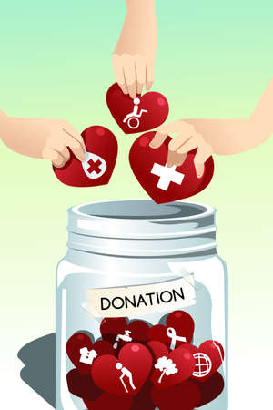 A vector illustration of people making donation