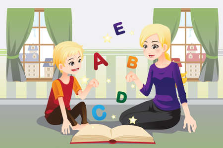 A vector illustration of a mother teaching her child about alphabet letters Illustration