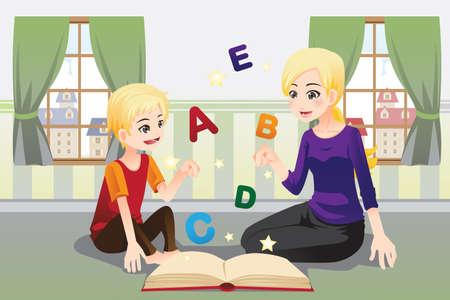 educadores: Una ilustraci�n vectorial de una madre que ense�a a su hijo acerca de las letras del alfabeto