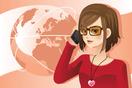 A vector illustration of a woman talking on the phone Çizim