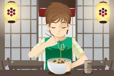麺の丼を食べて少年のベクトル イラスト