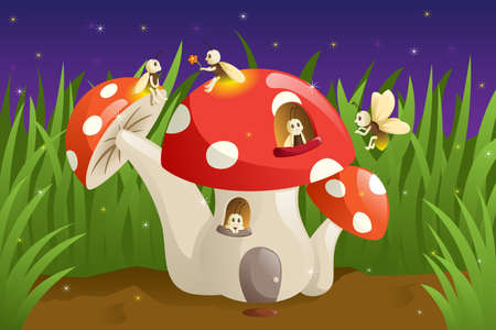 A vector illustration of mushroom house with fireflies