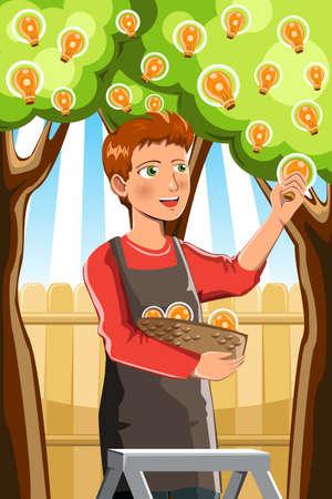 Een vector illustratie van een man oogsten idee van een idee boom Stock Illustratie