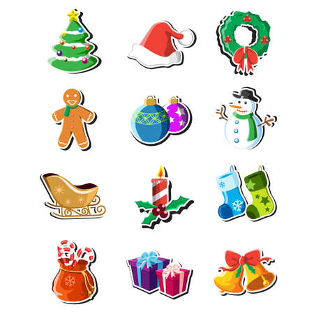 A vector illustration of a collection of Christmas icons Çizim