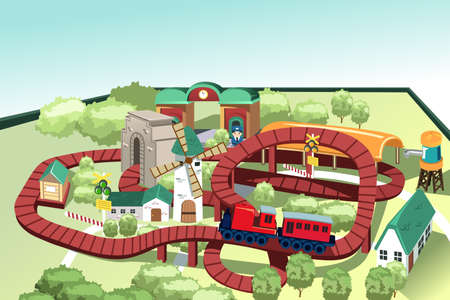 wood railroads: A vector illustration of a miniature train toy track
