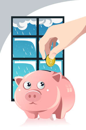 A vector illustration of a hand inserting a coin inside a piggy bank, a concept of saving for the rainy day