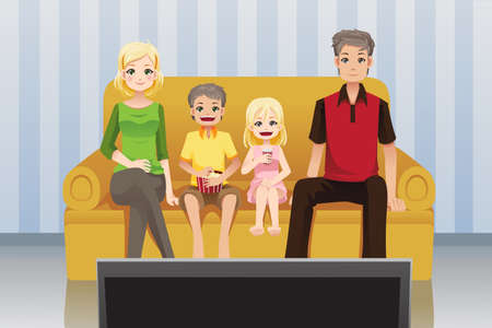 A vector illustration of a family watching moviestelevision at home
