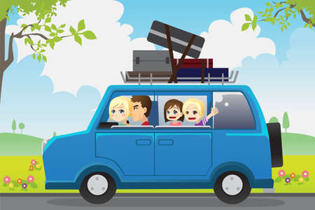 A vector illustration of  a family traveling in a car