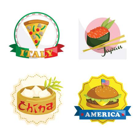Een vector illustratie van internationale gastronomische gerechten iconen