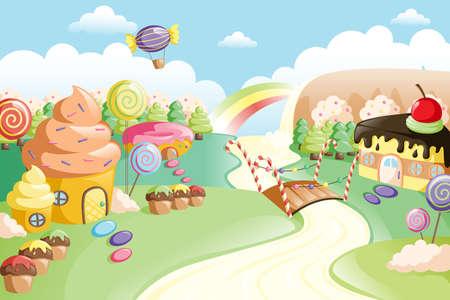 Una ilustración vectorial de tierra de la fantasía comida dulce