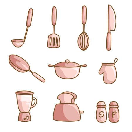 A vector illustration of a set of cooking utensils Illustration