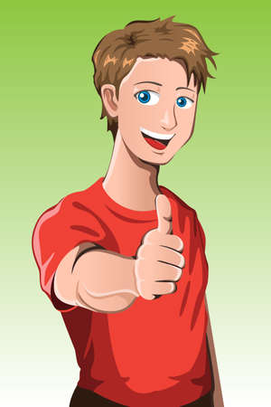 A vector illustration of a man with his thumb up Vector