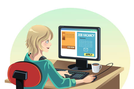 A vector illustration of a woman searching for a job online Иллюстрация