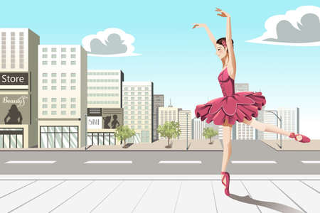 A vector illustration of a ballet dancer dancing in the city