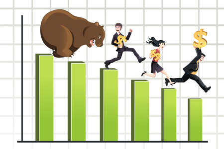 bearish market: A vector illustration of a bear chasing business people down the chart, can be used for bear market concept