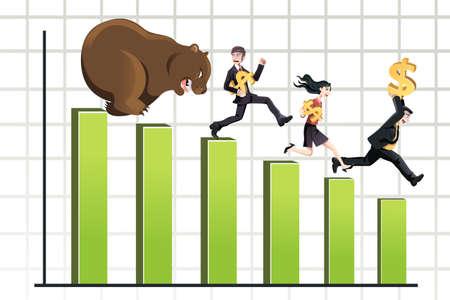 Une illustration de vecteur d'un ours chassant les gens d'affaires vers le bas du tableau, peut être utilisé pour le concept de marché baissier Banque d'images - 16459781