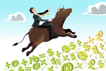 bullish: Una illustrazione vettoriale di un uomo d'affari a cavallo di un toro che sale su una collina, pu� essere utilizzato per il concetto di mercato toro