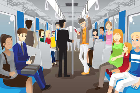 A vector illustration of people inside a subway train