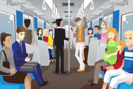 tren caricatura: Una ilustración del vector de las personas dentro de un tren del metro