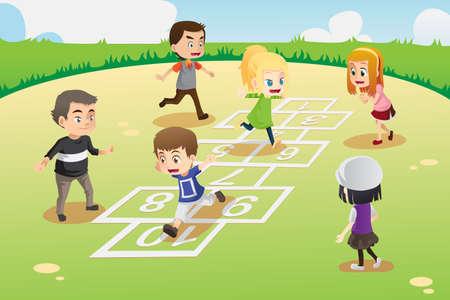 lazer: A ilustração do vetor de crianças brincando de amarelinha no parque Ilustração