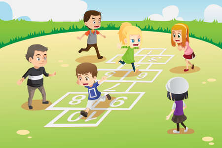 A vector illustration of kids playing hopscotch in the park Vector