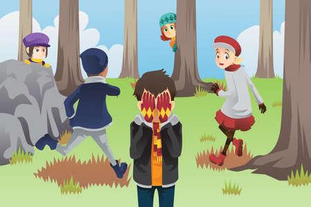 Een vector illustratie van kinderen spelen verstoppertje in het park