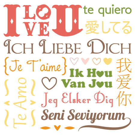 love you: A vector illustration of I love you word in different languages Illustration