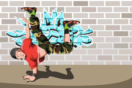A vector illustration of a hip-hop or street dancer Vector
