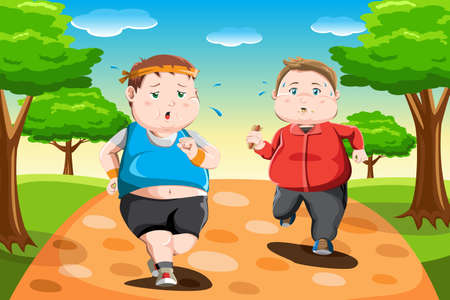 A vector illustration of overweight kids running in the park