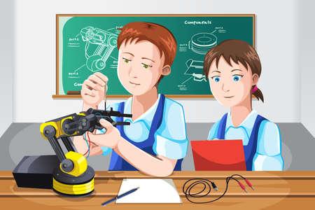 Una ilustraci�n vectorial de estudiantes que construyen un robot en clase
