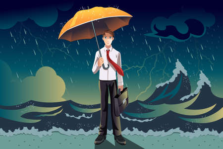 cartoon umbrella: A vector illustration of a businessman holding an umbrella in the middle of a storm, can be used for weather the storm concept