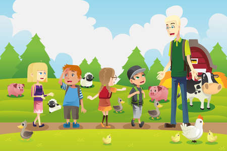 Een vector illustratie van een groep kinderen op een excursie naar een boerderij met hun leraar