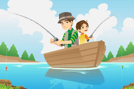 cartoon fishing: A vector illustration of a father and a son going fishing on a boat
