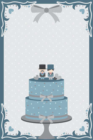 A vector illustration of a wedding cake designed for gay couple