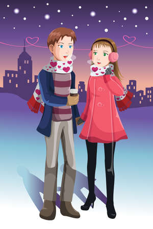 A illustration of a young couple in love in winter time  Illusztráció