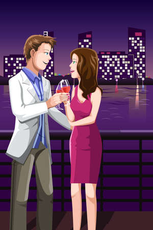 night out: A illustration of a young couple enjoying the night out