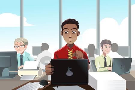 사무실에서 근무하는 사업 사람들의 그림 일러스트