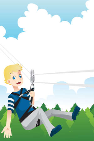 A illustration of a kid enjoying a zipline activity Vector