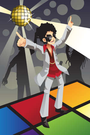 A illustration of a man dancing disco on the dance floor