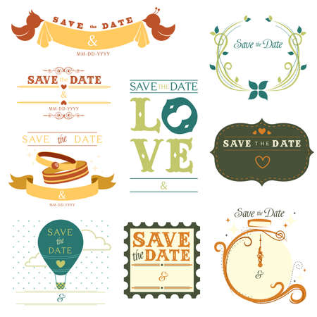 A illustration of a collection of save the date tag Çizim
