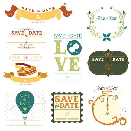 invitaci�n matrimonio: Una ilustraci�n de una colecci�n de guardar la etiqueta de fecha