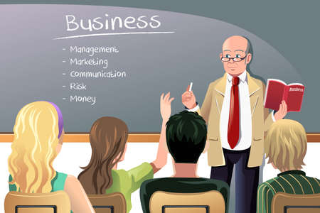 A illustration of a business class teacher or professor teaching in college class
