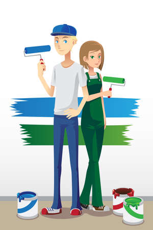 modern house: A illustration of a couple holding paint brush ready to paint