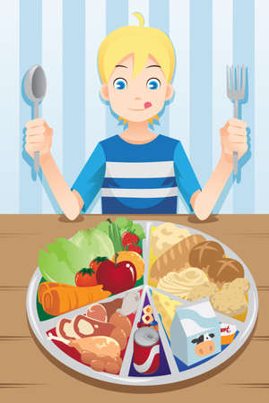 kid eat: Una ilustraci�n de un muchacho listo para comer un plato lleno de comida