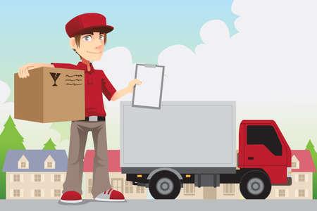 курьер: Иллюстрация доставки человека доставку пакета